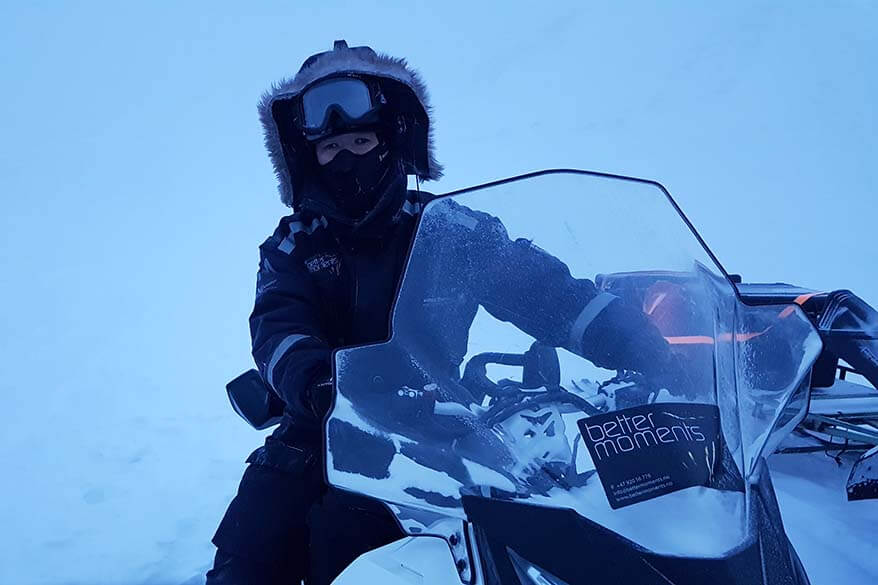 Jurga dressed up for snowmobiling in Svalbard