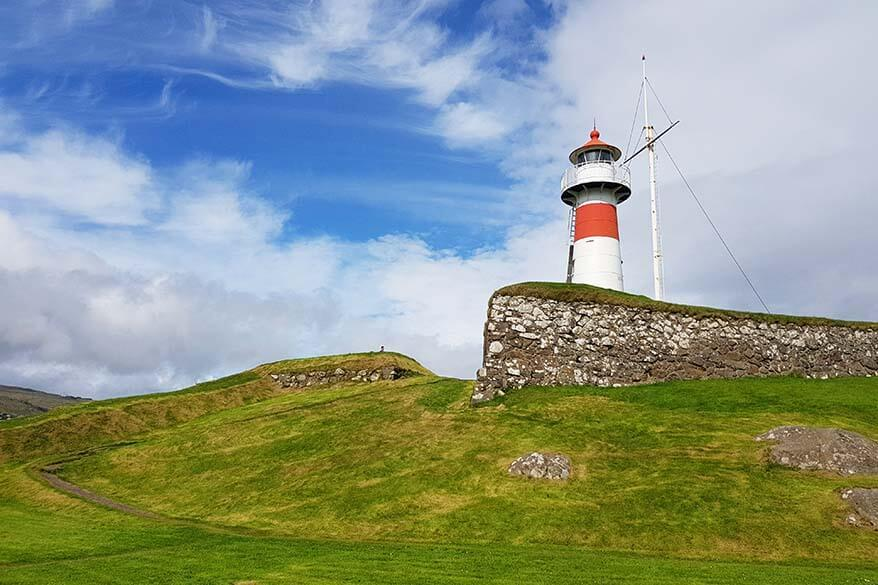 Lighthouse at the Skanisn Fort in Torshavn, Faroe Islands