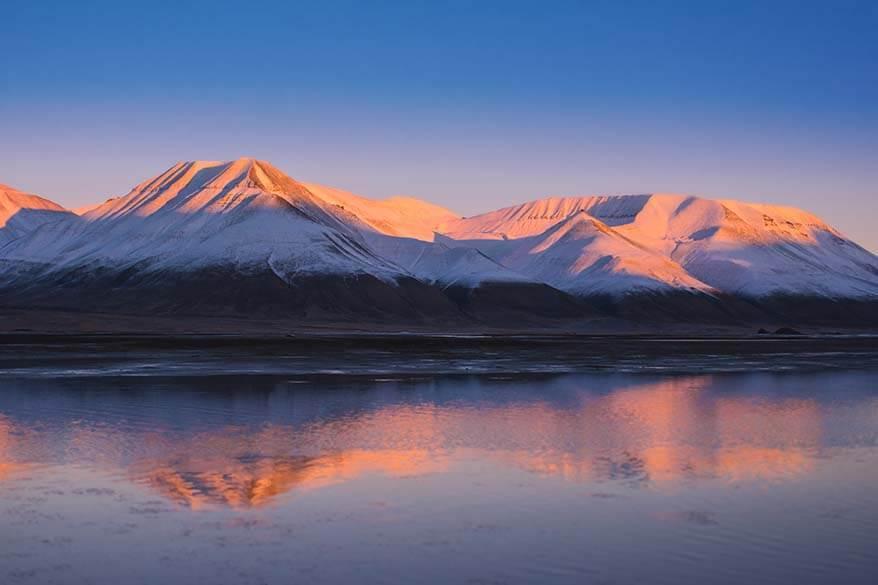Mountain landscape of Spitsbergen island in Svalbard