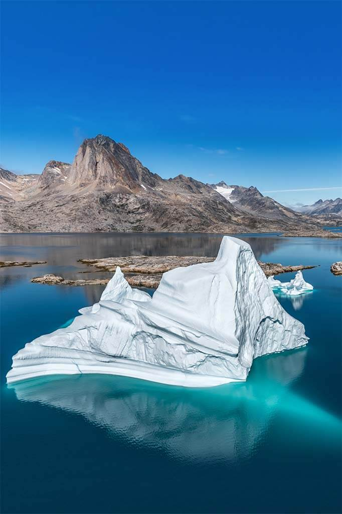 Mountains and icebergs in Eastern Greenland