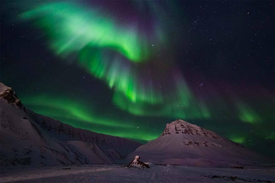 Northern Lights in Svalbard in winter
