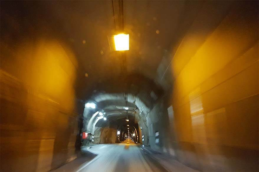 Single lane tunnel between Siglufjordur and Olafsfjordur in North Iceland