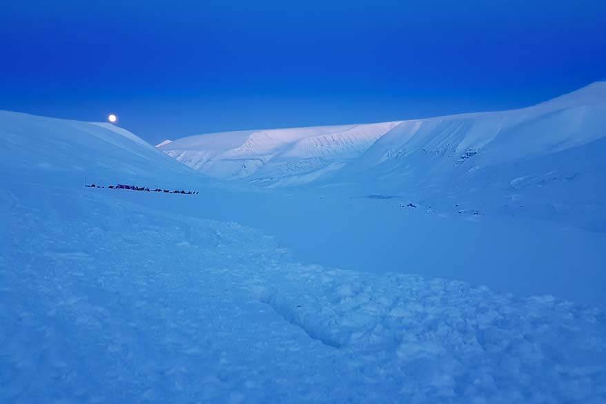 Stunning blue light in Svalbard in February