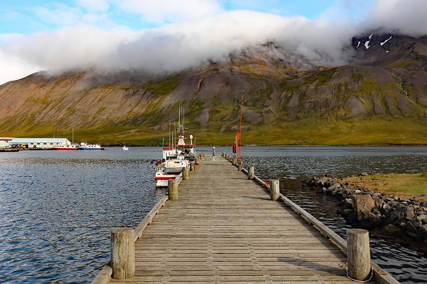 Wooden pier at Siglufjordur harbor in Iceland