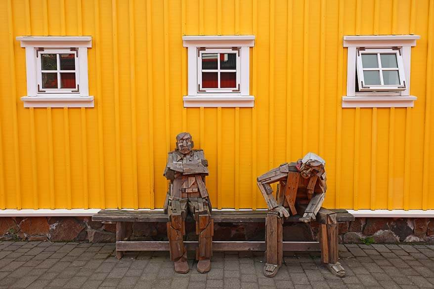 Wooden sculptures at Hannes Boy Restaurant in Siglufjordur, Iceland