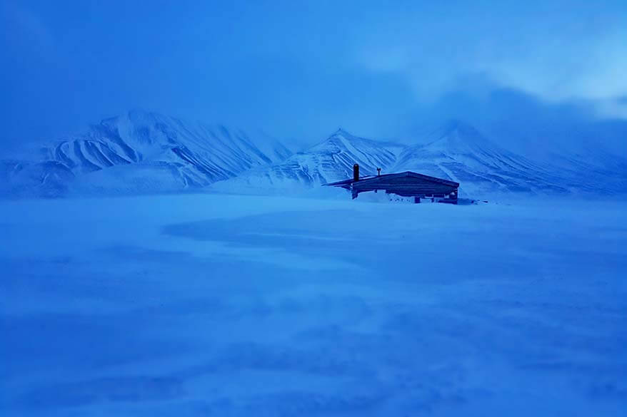 Beautiful winter landscape in Svalbard during the blue season of February