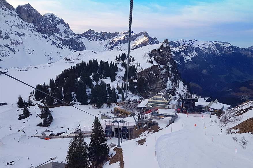 Berghotel Trubsee and Trubsee cable car station aerial view