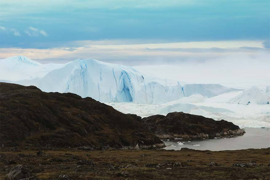 Big icebergs at Ilulissat Icefjord in Greenland