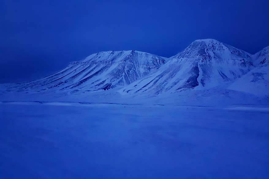 Blue season landscapes in Svalbard