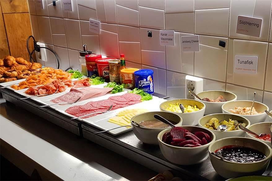 Breakfast buffet at Polfareren Hotel in Svalbard