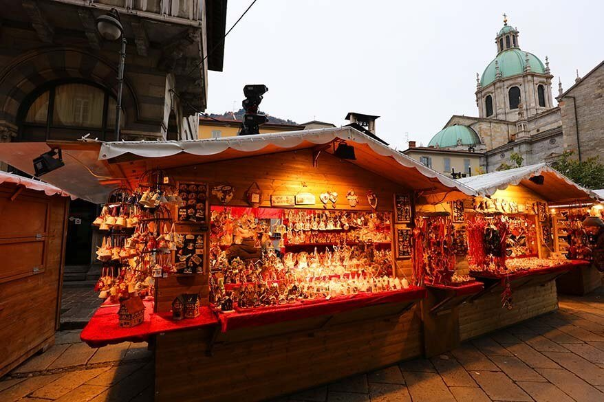 Christmas Market in Como Italy at the end of November