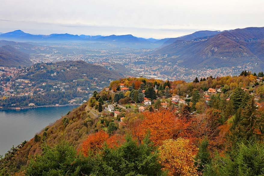 Colorful autumn leaves in Italy in November