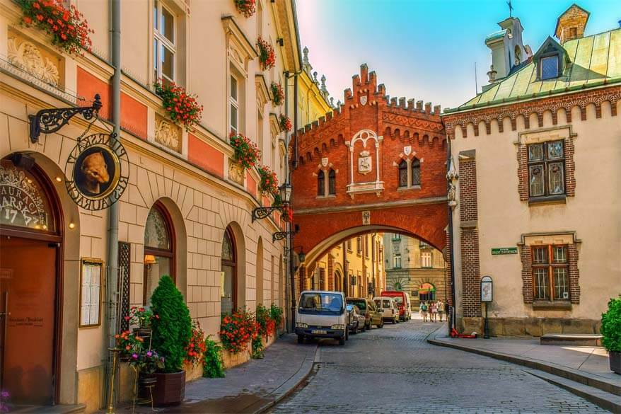 Colorful buildings of Krakow old town