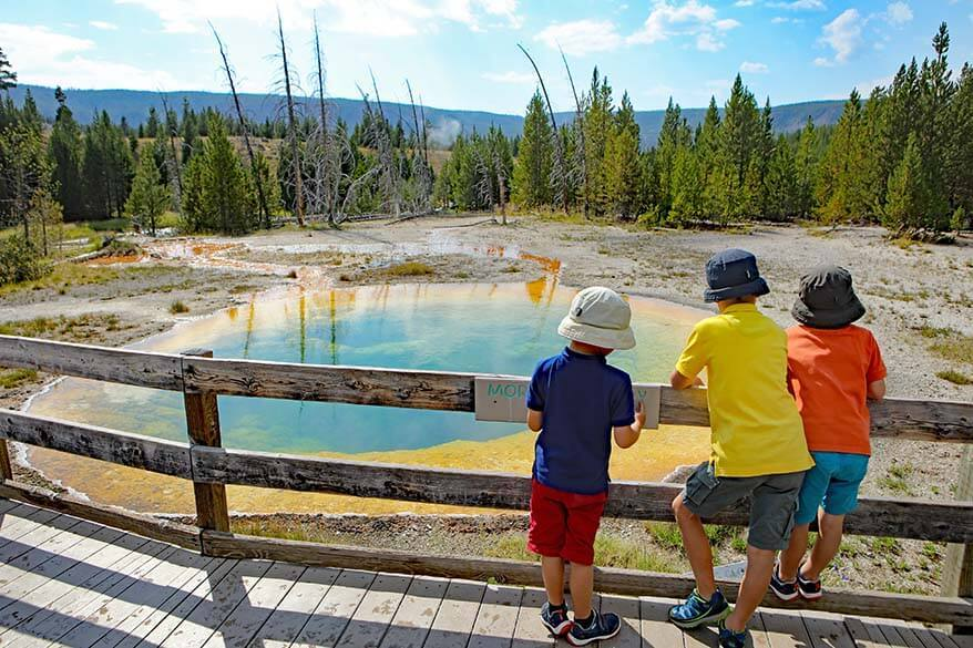 Family vacation in Yellowstone in summer