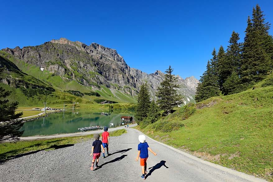 Hiking at Trubsee Lake with kids in summer