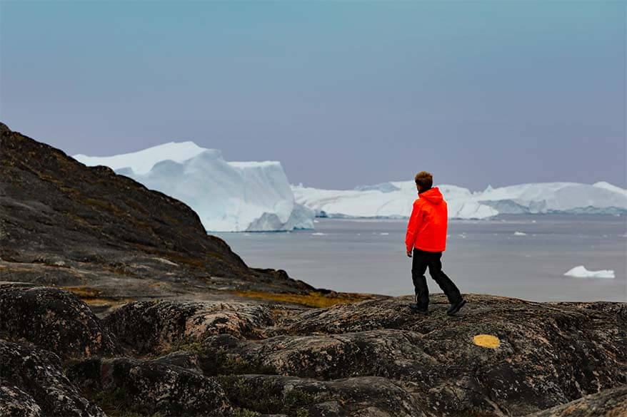 Hiking the Yellow Trail at Ilulissat Icefjord in Greenland