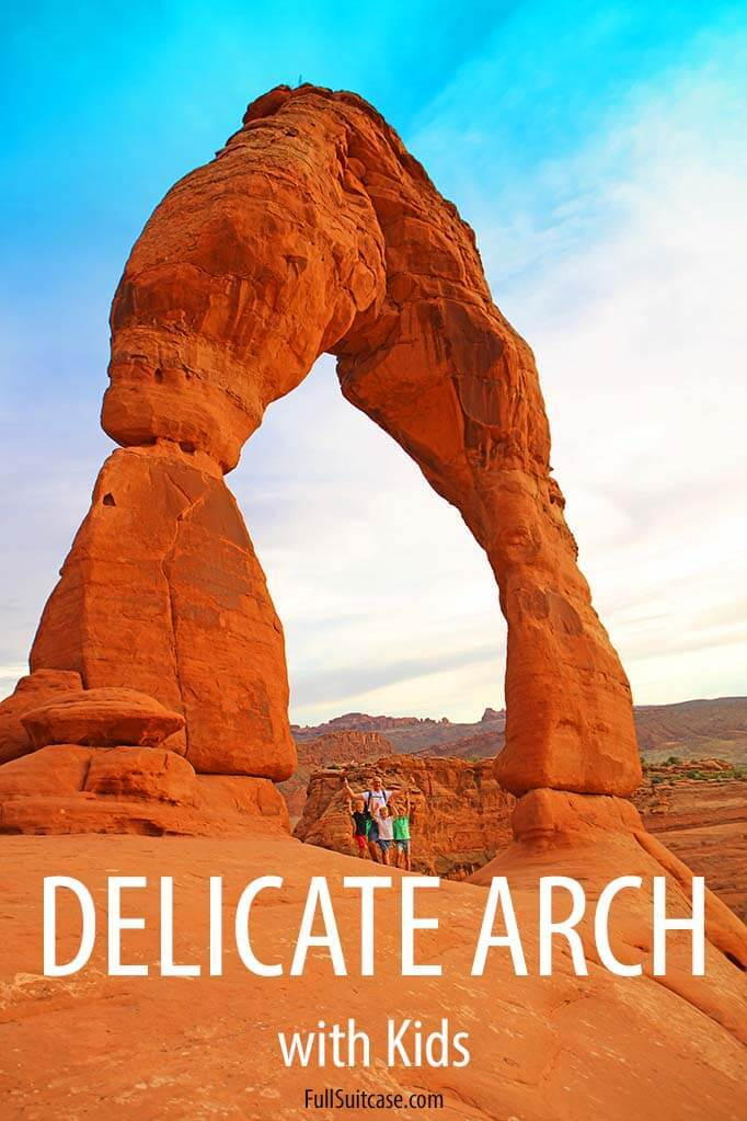 Hiking to Delicate Arch in Arches NP with kids
