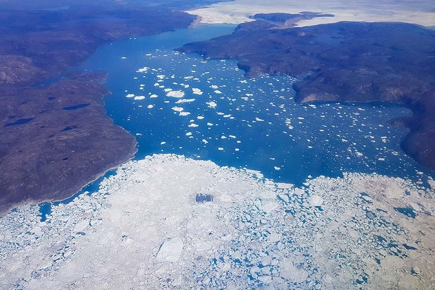 Icefjord in Greenland seen from the plane