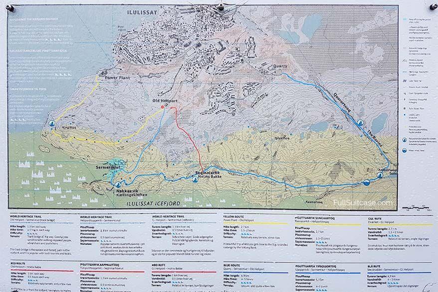 Ilulissat hiking map