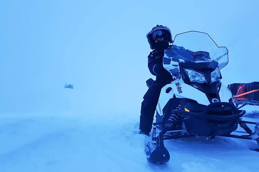 Jurga (Full Suitcase) on a snowmobile tour in Svalbard