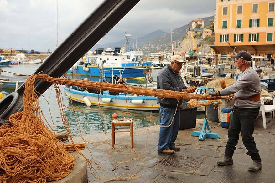 Local fishermen making nets - authentic side of Italy in November