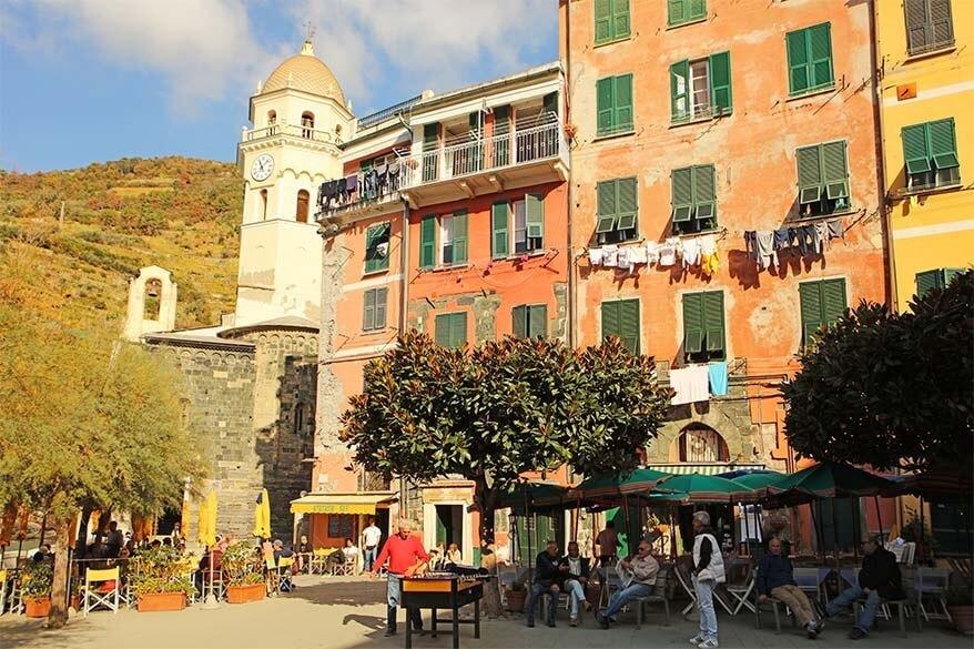 Locals on the main square of Vernazza - Cinque Terre offseason