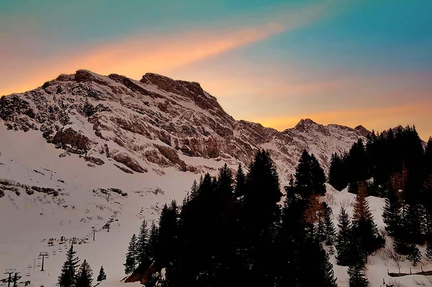 Mountain sunset at Hotel Trubsee in winter