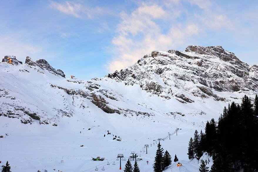 Mountains near Trubsee in Engelberg in winter