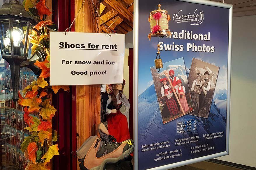 Mt Titlis shops - shoes for rent and pictures with traditional Swiss costumes