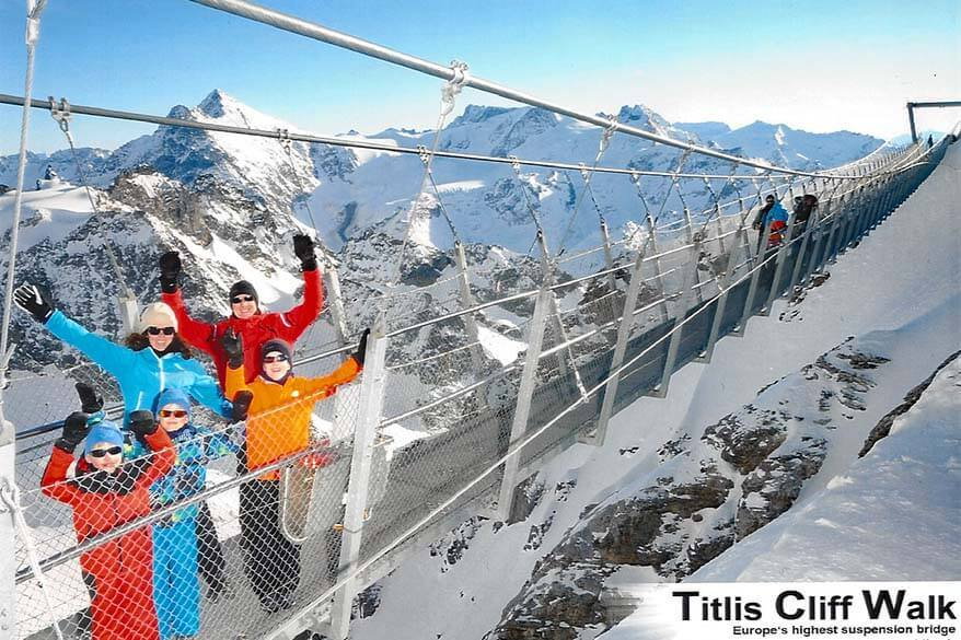 Mt Titlis with kids - cliff walk