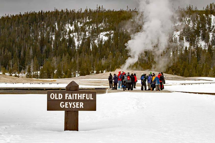 Old Faithful Geyser in winter