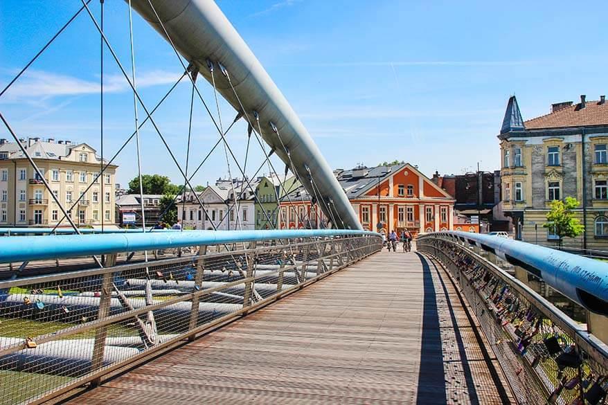 Pedestrian and bicycle bridge over Vistula river in Krakow Poland