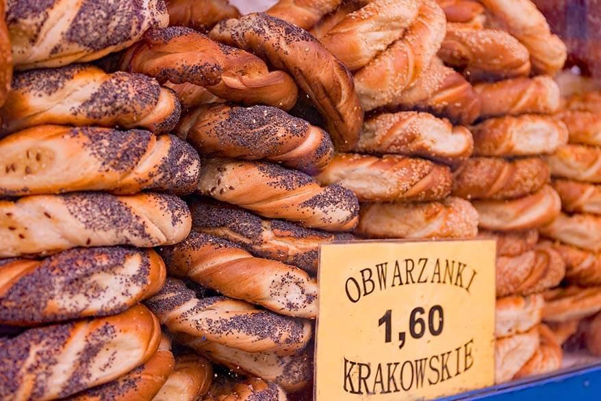 Polish bagels - obwarzanki - must try when visiting Krakow