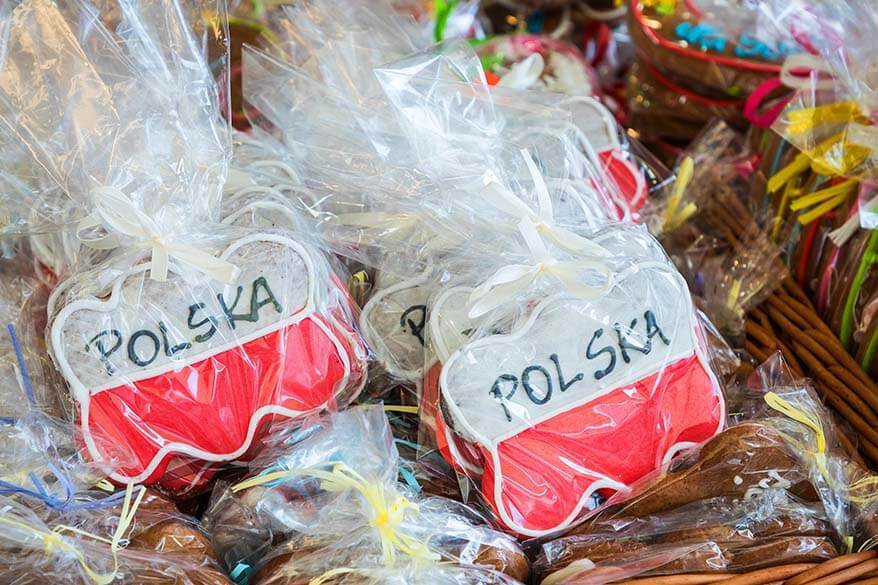 Polish gingerbread with a flag of Poland for sale at a market in Krakow