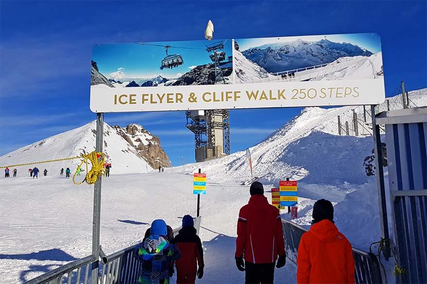 Sign to Ice Flyer and Cliff Walk at Mt Titlis