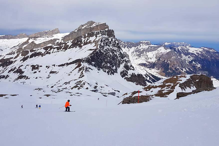 Skiing from Jochstock to Jochpass - Engelberg Switzerland