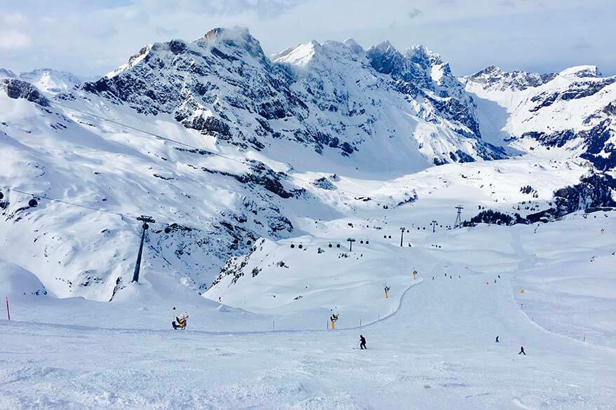Skiing from Stand to Trubsee - Engelberg ski area in Switzerland