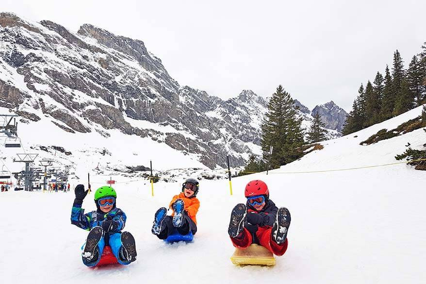 Sledding at Trubsee Snow Park - included in Mt Titlis visit in winter