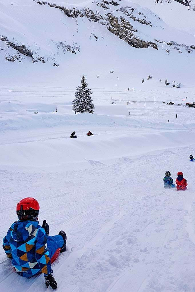Kids sledding at Trubsee snow park in Engelberg