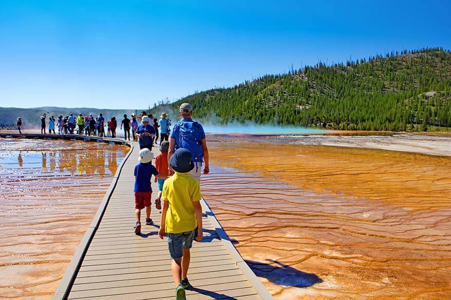 Small crowds at the Grand Prismatic Spring in Yellowstone in July