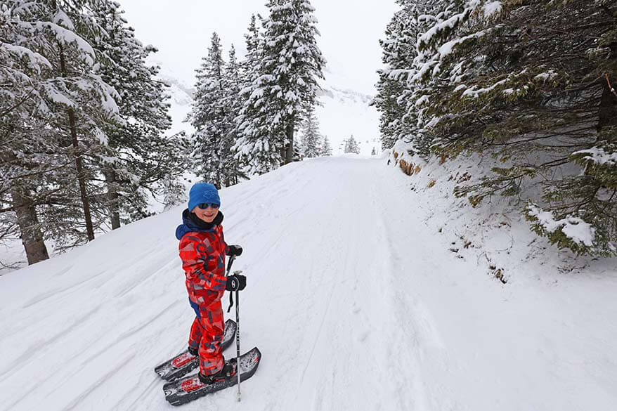 Snowshoeing near Trubsee with kids