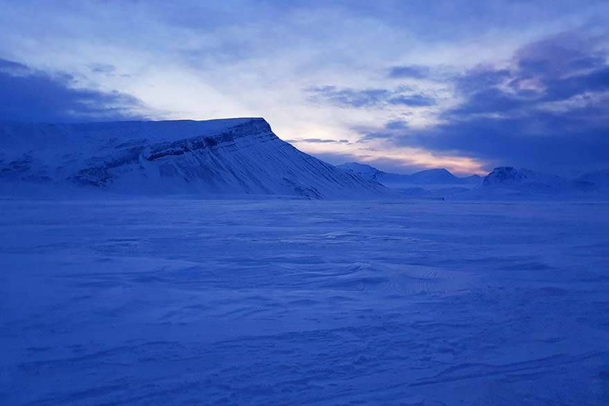 Stunning winter scenery of Arctic wilderness in Svalbard