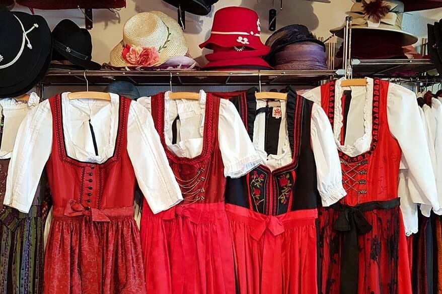Traditional Swiss costumes at a photo studio at Mt Titlis