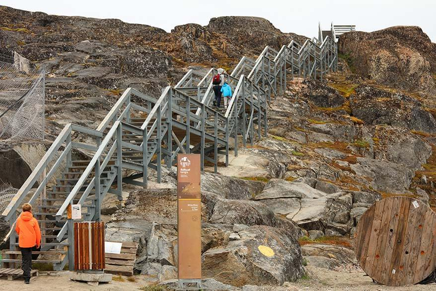 Trailhead of Yellow Route hiking trail at Kangia Ilulissat Icefjord