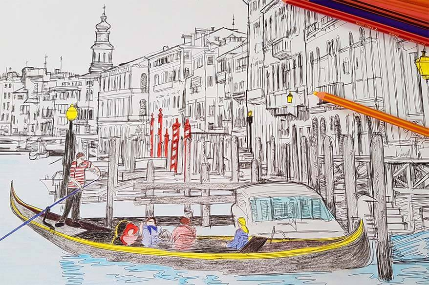 Travel coloring book for adults - great distraction in times of quarantine