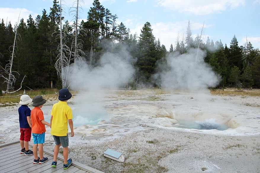 Visiting Yellowstone's Upper Geyser Basin with kids
