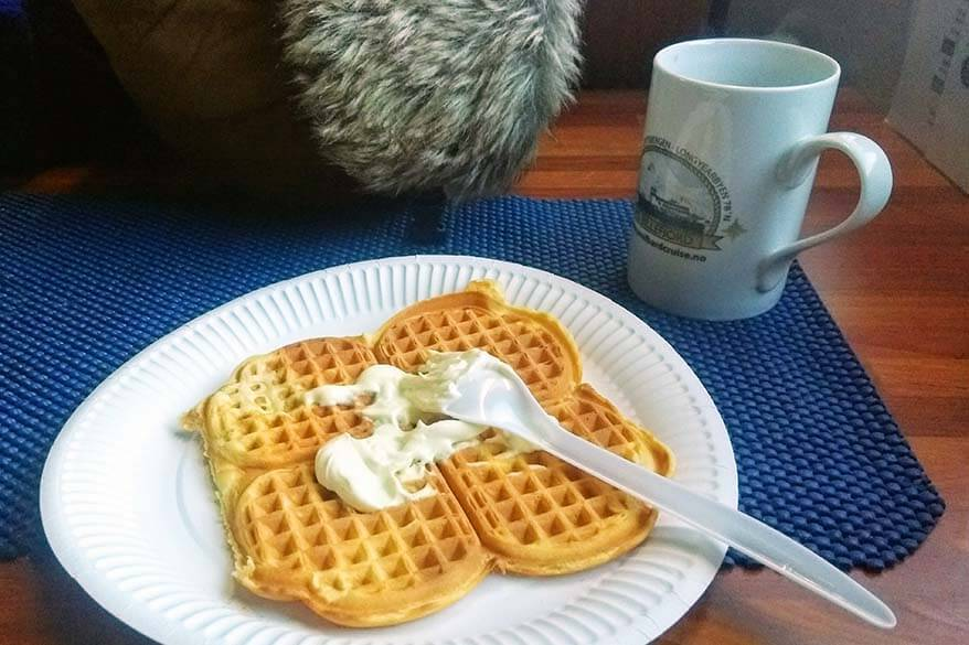 Waffles on a boat tour in Svalbard