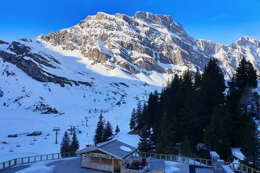 Where to stay for skiing in Engelberg - view from Trubsee Alpine Lodge