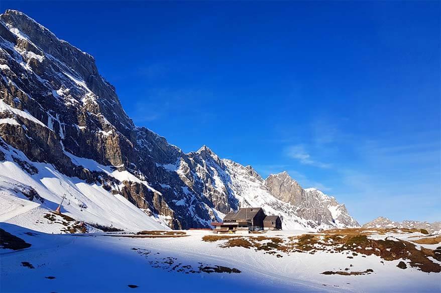 Winter landscape at Alpstubli mountain restaurant in Engelberg Titlis ski area