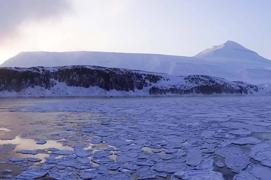 Winter landscape on Svalbard fjord cruise